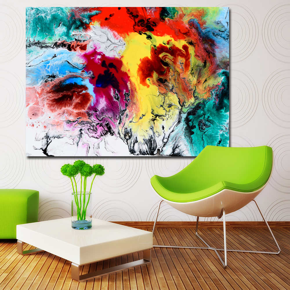 SELFLESSLY Abstract Art Painting Watercolor Wall Pictures For Living Room Home Decor Colorful Art Canvas Print Decor No Frame