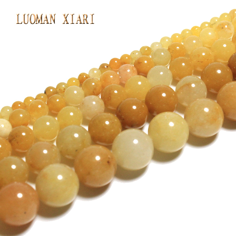 LUOMAN XIARI Natural Round Lighter ImperIal Jade Stone Beads For Jewelry Making DIY Bracelet Material 4/ 6/8/10/12mm Strand 15''