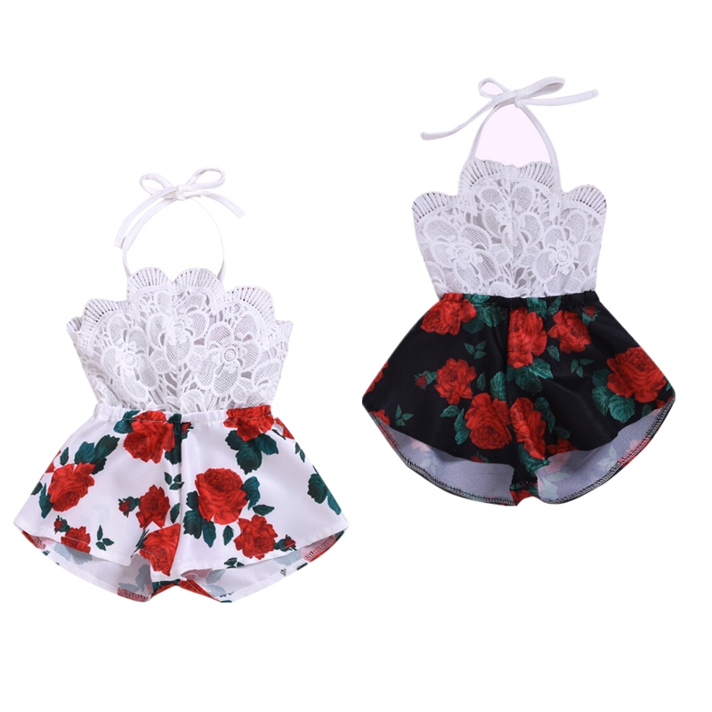 Toddler Baby Girl Floral Lace   Romper   Jumpsuit Overalls Kids Girls Summer Halter Sleeveless   Rompers   Outfit Clothes Playsuit Tops