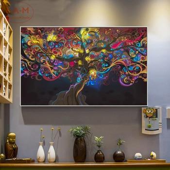 Psychedelic LSD drzewo światła bawełna obraz drukowany na płótnie plakat na ścianę zdjęcia dekoracji wnętrz dekoracje ścienne bez ramki-C