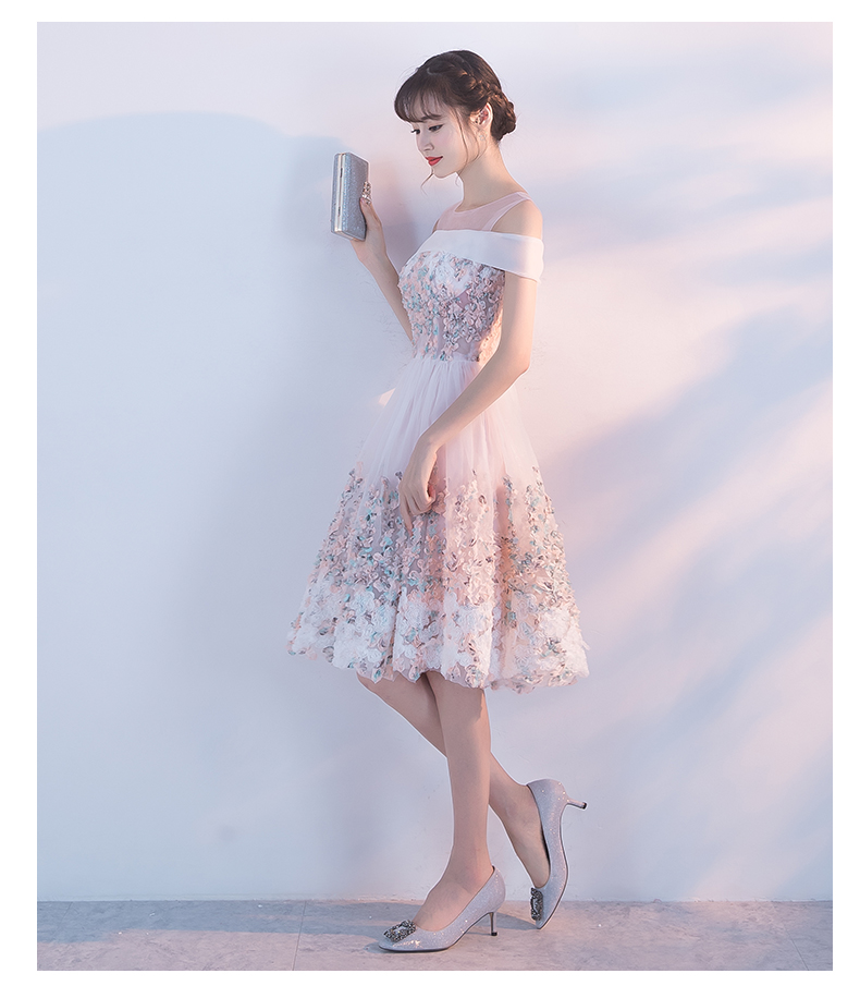 Princessally New Pink Short Evening Dress Flower Appliques Lace Short Sleeve Vintage Elegant Formal Homecoming Gown Robe Soriee 3