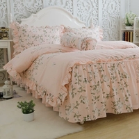 Printed Orange Color Tree Leaves Cotton Ruffles Bedding Sets Dreaming Home Duvet Cover Pillowcase Sheet Sets
