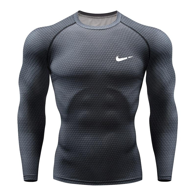 2019 Running Shirt Men 3D Print Gym Fitness Rashguard MMA Long Sleeve Running T-Shirt Brand Bodybuilding Workout Shirts Tops