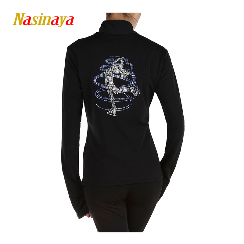 Customized Figure Skating Jacket Zippered Tops for Girl Women Gymnastics Colored