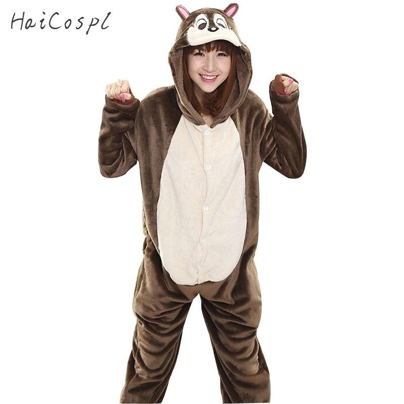 Squirrel Pajama Onesie Female Animals Cosplay Costume Party Fancy Adult Winter Kigurumi Flannel Sleepwear Warm Cartoon Girls