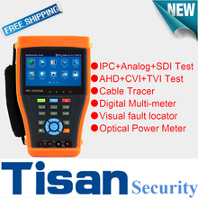 4.3 inch TVI SDI IP CVI AHD Analog 6 IN 1 with cable tracer,digital multi-meter,optical power meter,visual fault test