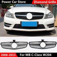 Grille Suitable for MB C Class W204 Diamond grille Gloss black/ Chrome Silver C180 C200 C300 C250 C350 2008 2014 With Emblem