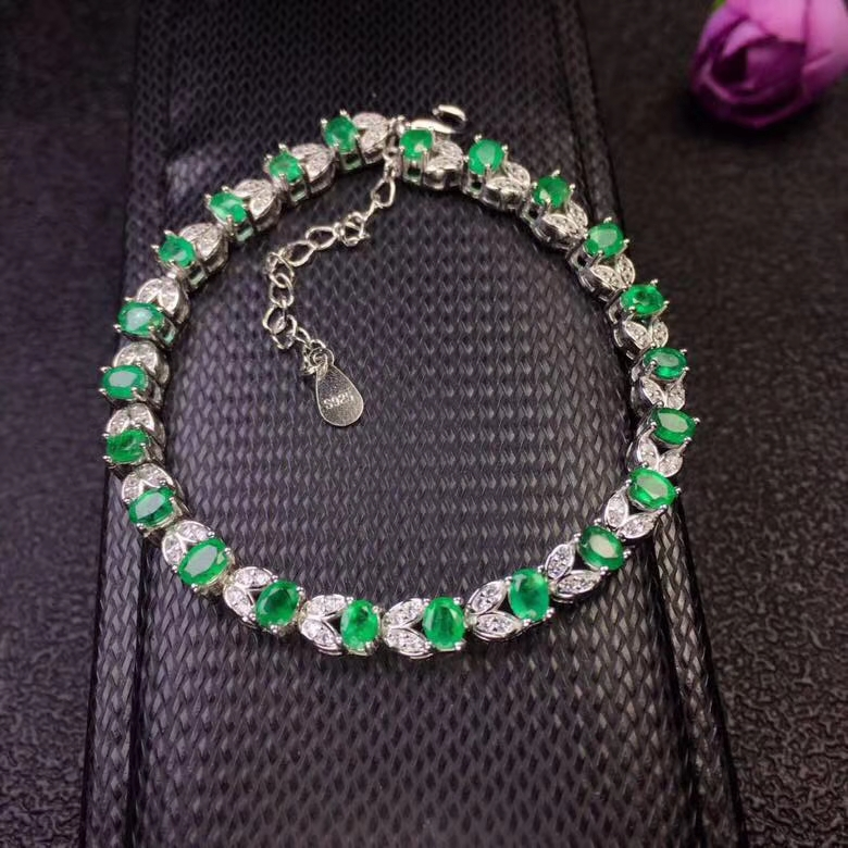 natural green emerald gem Bracelet Natural gemstone bracelet S925 silver Elegant Lovely scissors Leaf women party gift jewelry elegant artificial gem oval rhinestone leaf floral brooch for women