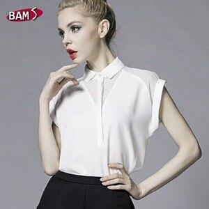 Image 4 - 2019 été Style Blouse femmes mode blanc en mousseline de soie élégante chemise femme travail porter bureau dames haut manches longues femmes vêtements