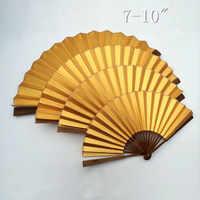 """Carta di riso Oro Decorazione Fan Fan Mano Cinese Pittura FAI DA TE Programma di Fine Art Calligrafia Adulto Grande Bambù Pieghevole Fan 7-10"""""""