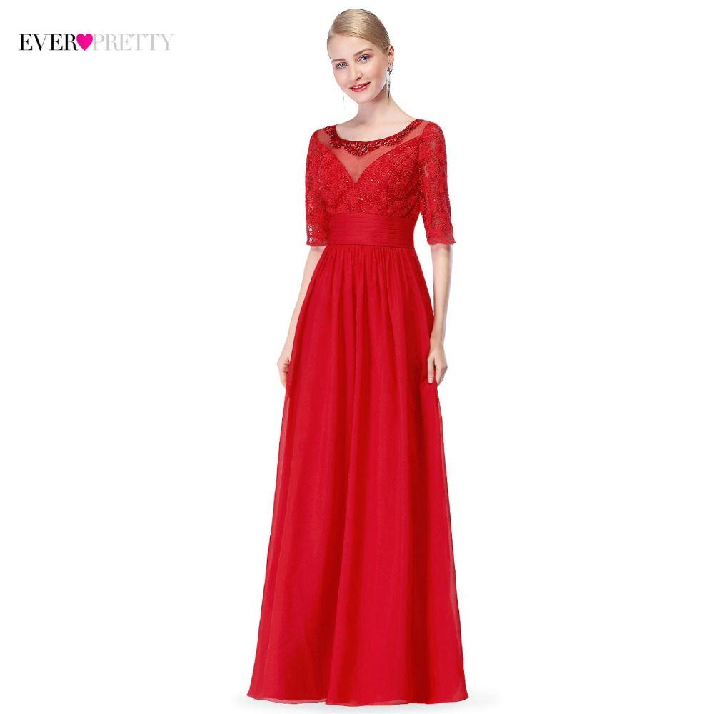 2018 New Arrival Red Evening Dresses Long Ever-Pretty Brand A Line Half Sleeves Elegant Formal Gowns For Wedding Party Mother