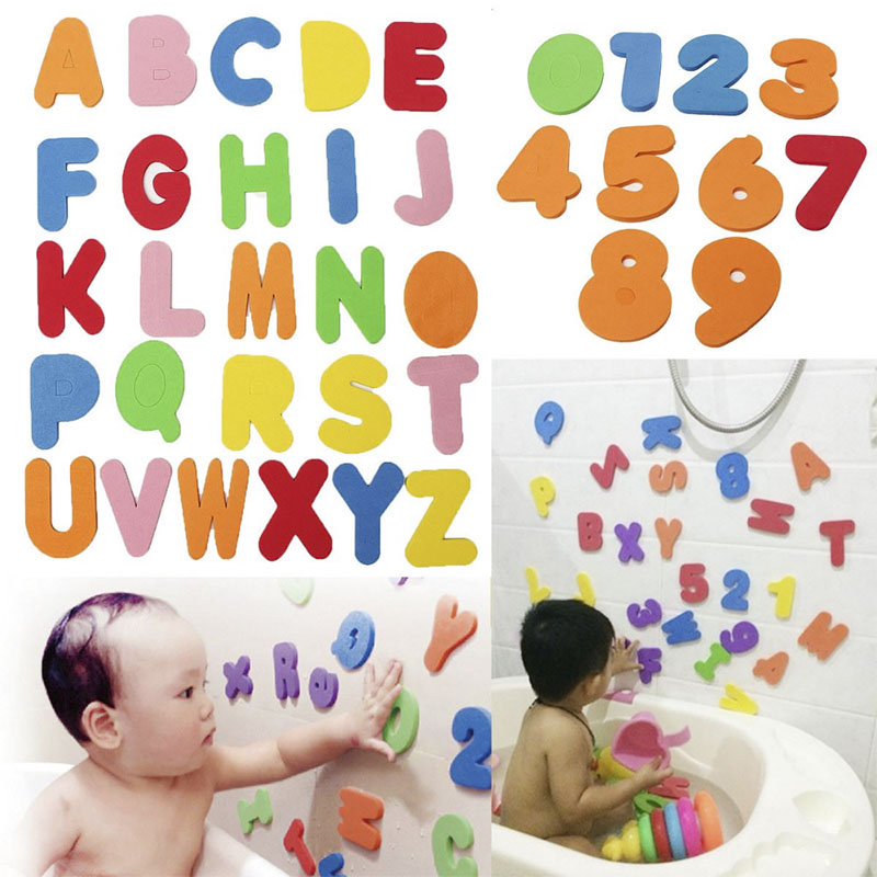 36pcs/set Bath Toy Russian Alphanumeric Letters Animal Puzzle Soft EVA Numbers Kids Water Early Educational Bathroom Baby Toys