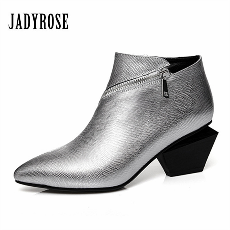 Jady Rose Silver Women Ankle Boots Genuine Leather High Heel Pointed Toe Botas Mujer Zip Design Women Short Rubber Martin Boots 2017 fashion new eye design pointed toe women ankle boots square heel short booties genuine leather lace up martin botines mujer
