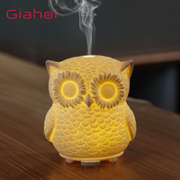 Portable Ultrasonic Air Humidifier Essential Oil Diffuser Owl Shape Ceramics Aromatherapy Mist Maker LED Night Light For Home