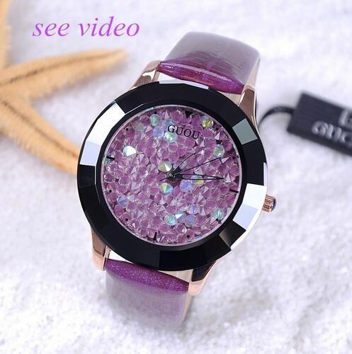 GUOU Damen Uhr Mode Farbe Stein Glitter Frauen Uhren Luxus Echtem Leder Diamant Uhr reloj mujer relogio feminino