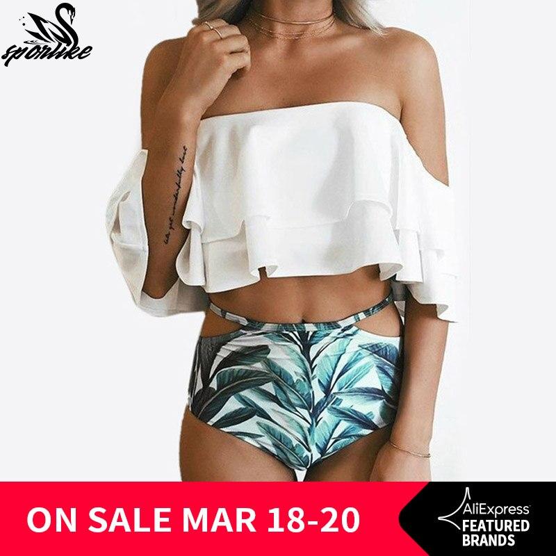 A Vita alta Costume Da Bagno 2018 Bikini Sexy Delle Donne Costumi Da Bagno Volant Vintage Fascia A Righe di Fondo Bikini Set Costumi da bagno