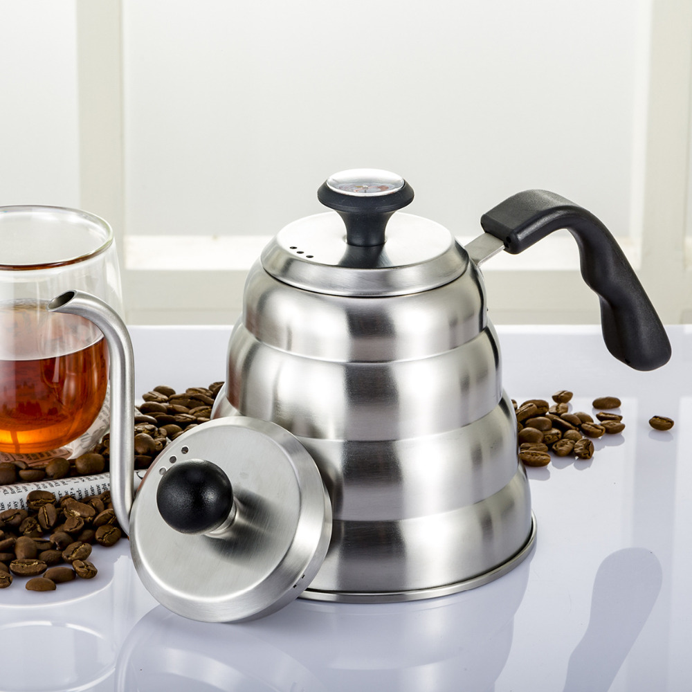 1L/1.2L 304 Stainless Steel Drip Coffee Pot With Thermometer Home Use Tea Pot Barista Coffee Tool Teapot Kettle Coffee Maker