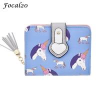 Focal20 PU Leather Tassels Cartoon Animal Short Female Wallet Squirrel Unicorn Bird Pattern Cute Women Purse