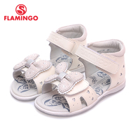 FLAMINGO Famous Brand 2017 Latest Design Genuine Leather Children Summer Shoes Bowknot Decoration Ankle Wrap Girl