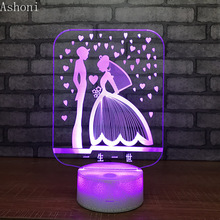 3D Table Lamp Acrylic LED Night Light Touch Remote 7 Color Changing Wedding Party Decor Light for Lovers Valentine's Day Gift bc 27cr portable charger for topcon surveying instruments