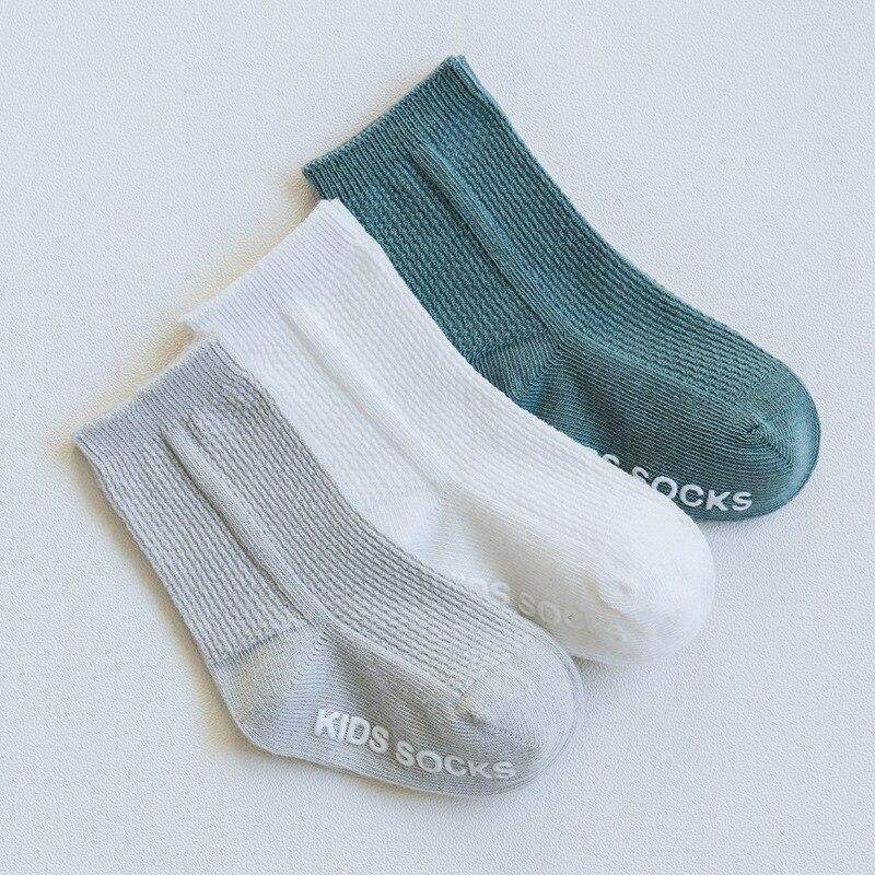 3 Pairs/lot Children's Socks Solid Striped Summer Spring Boy Anti Slip Newborn Baby Socks Cotton Infant Socks For Girls 3
