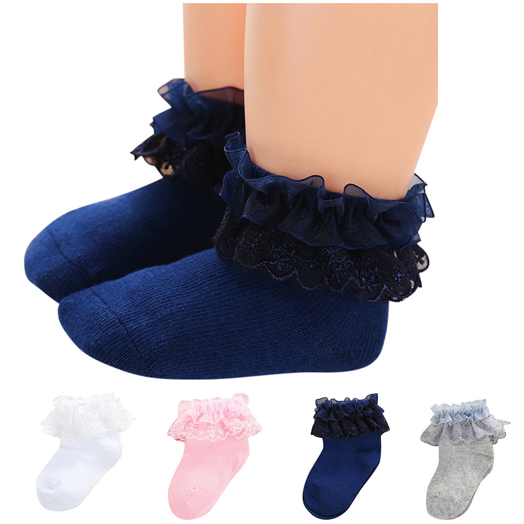 Toddler Princess Girls Soft Cotton Socks Sweet Lace Ruffle Frilly Ankle Socks US