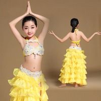 2017 Girl Belly Dance Costumes 1Pcs Bra Skirt For Jazz Waltz Tango India Bollywood Children Presentation