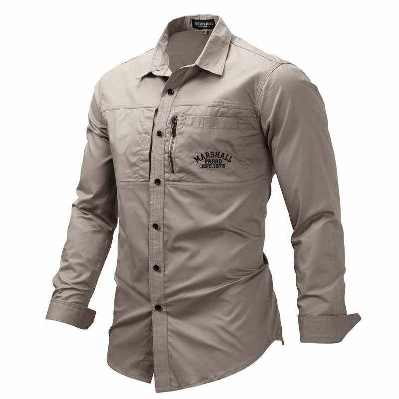 Fredd Marshall Fashion Men's Shirts Cotton Solid Color Long Sleeve Male Shirt with Zipper Pockets Camisa Masculina Plus Size (3)