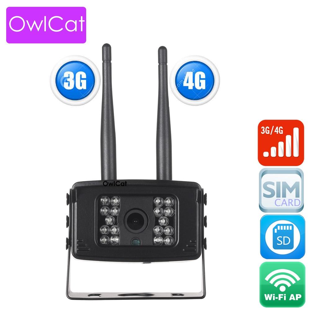 OwlCat SONY323 Outdoor 3G/4G SIM IP Camera WCDMA FDD-LTE/TDD-LTE Waterproof AP Wifi Wireless Mini Camera HD 1080P 2MP SD Memory