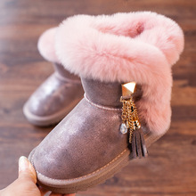 ULKNN winter new girls snow boots leather children's princess boots rabbit fur plus velvet cotton boots tassel SHOES цена