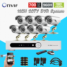 Security 16CH H.264 Network DVR 8ch Outdoor IR Camera CCTV Video surveillance System Kit for DVR monitor 16 channel CK-252