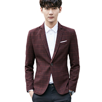 Mens Slim Printed Suit Jackets Buttons Mens Plaid Fashion Blazer British Masculino Slim Fit Work Wear Plus Size Men Coat 6X012
