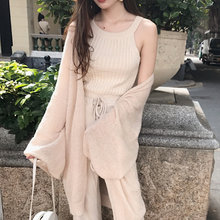 Women Droopy Lazy Style Elegant Cardigans Spring Loose Thin Sunscreen Knit Cardigan Coat Ladies Apricot All Match Chic Sweaters(China)