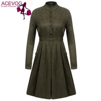 ACEVOG A Line Dress Fall Women Vintage Style Faux Suede Stand Collar Long Sleeve Button Down Solid Swing Short Dresses Vestidos