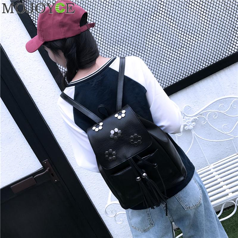 Fashion Rivet Zipper Women Backpacks Pu Leather Black Backpack For Student Teenage Girls Bag Preppy Travel Backpack Mochilas Hot