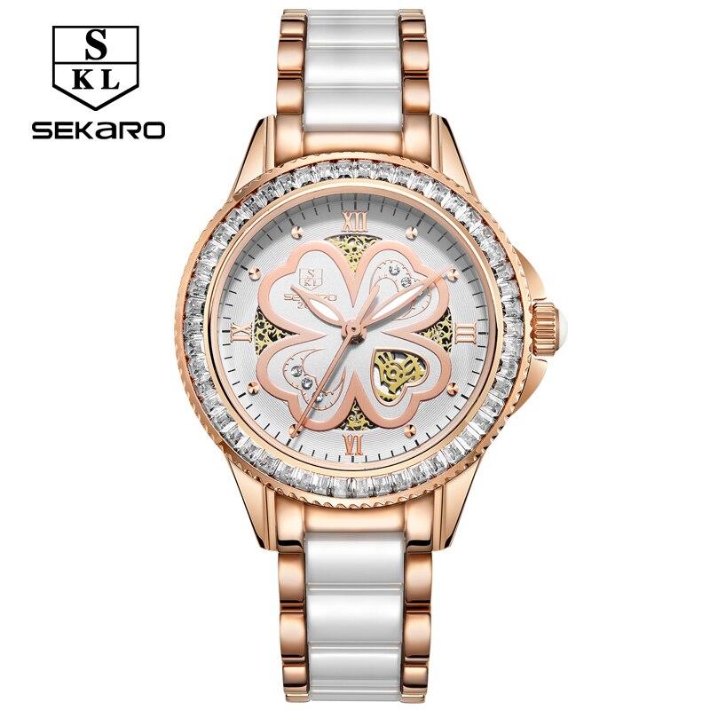 SEKARO Femmes En Céramique Strass montres à quartz Femmes de Montre-Bracelet Top Marque De Luxe Femme Saphir Cristal Horloge montre femme