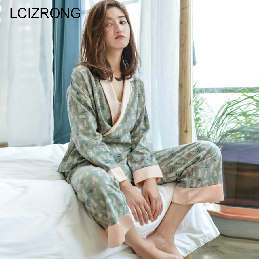 Spring Fashion Cotton Kimono   Pajamas     Set   Women V-neck Long Sleeve Tops Ankle-Length Pants Comfortable Cute Print Home Clothes