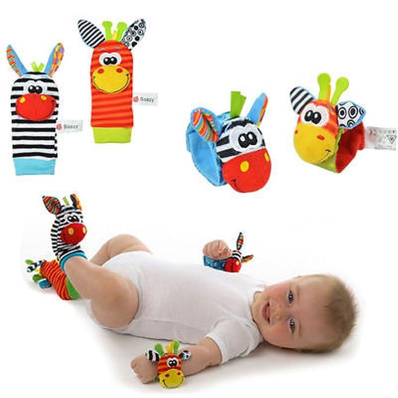 1 Pair Cute Infant Baby Kids Animal Hand Wrist Bells Foot Sock Rattles Soft font b