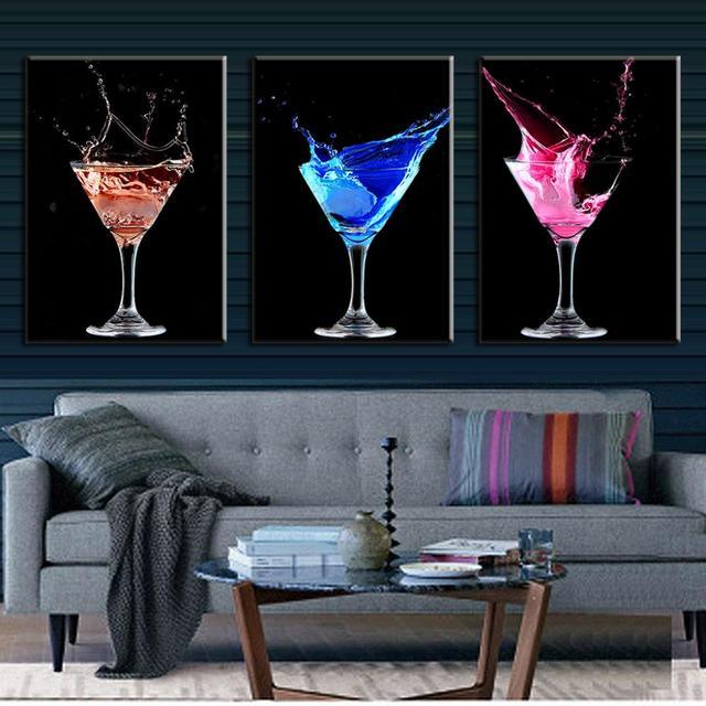 6ba60f4fe9014 3 Pz set Astratta Su Tela Wall Art Immagine Colorata Cocktails Stampe Su  Tela Immagini