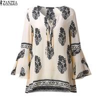 ZANZEA 2017 Womens Boho Lace Up V Neck Shirt Big Size Floral Print Flare Sleeve Casual