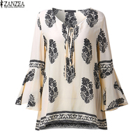 ZANZEA 2017 Womens Boho Lace-Up V-Neck Shirt Big Size Floral Print Flare Sleeve Casual Loose Beach Tops Blouse Plus Size