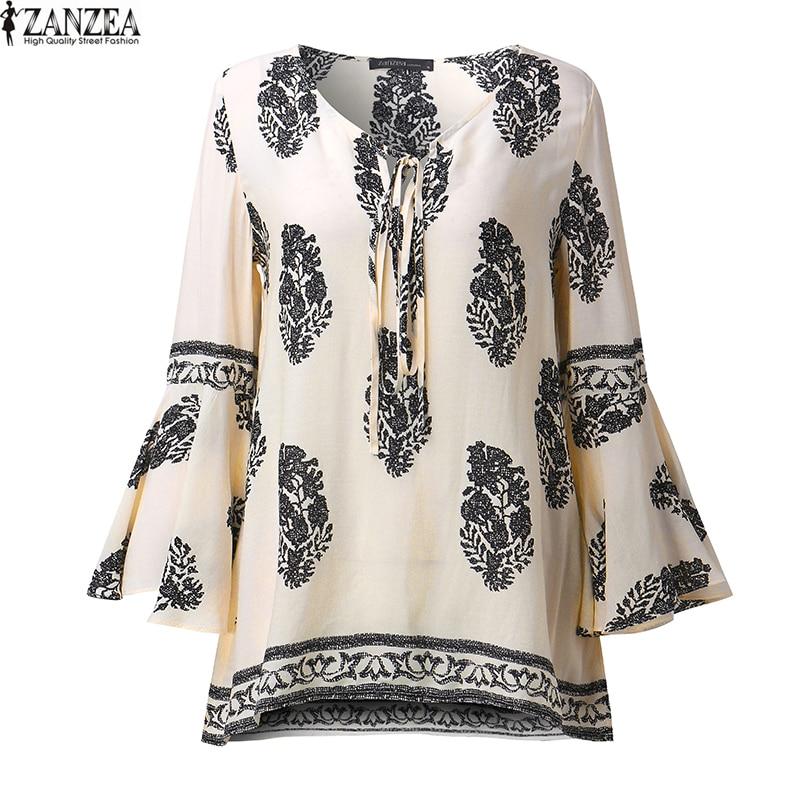 ZANZEA 2018 Womens Boho Lace-Up V-hals Shirt Big Size Bloemenprint - Dameskleding
