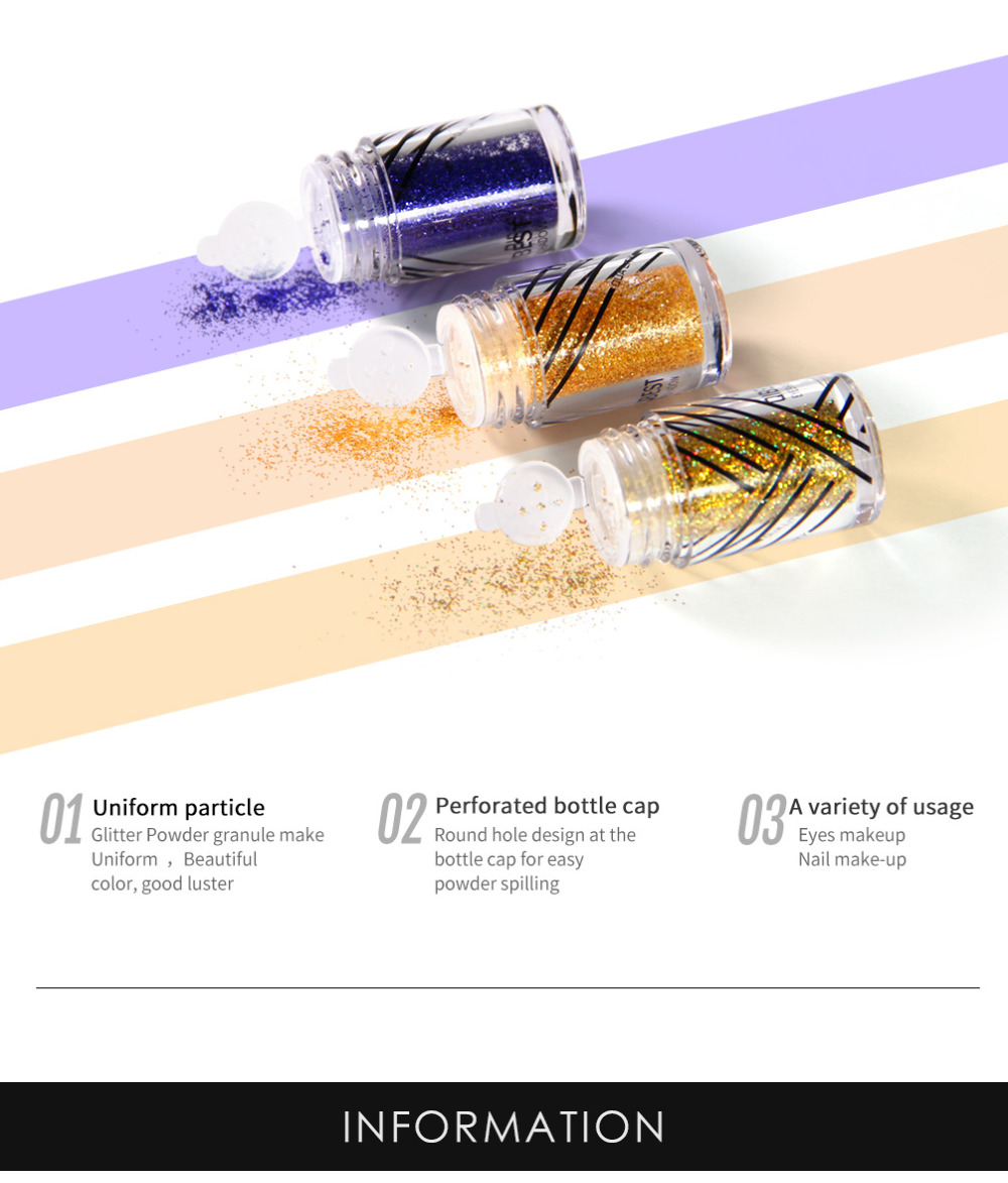 Beauty Essentials Eye Shadow 2019 Latest Design Qibest Shimmer Glitter Powder Eye Shadow Face Eyes Lips Nails And Glue Waterproof Colorful Laser-makeup Brand Qibest #l18036