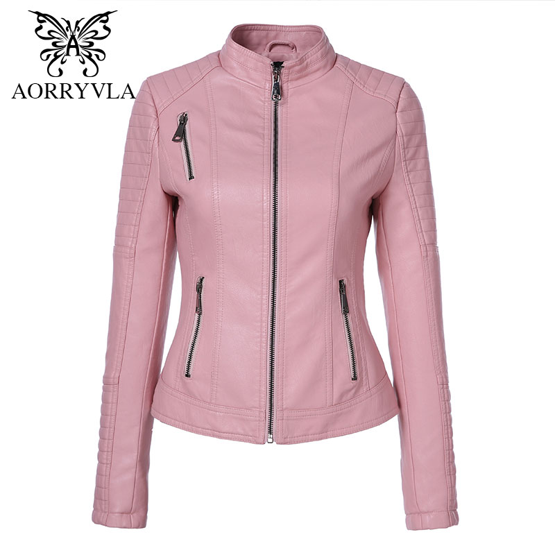 AORRYVLA 2018 New Autumn Women   Leathers   Brands Motorcycle Washed PU   Leather   Short Length Zipper Motorcycle Ladies Basic Jacket