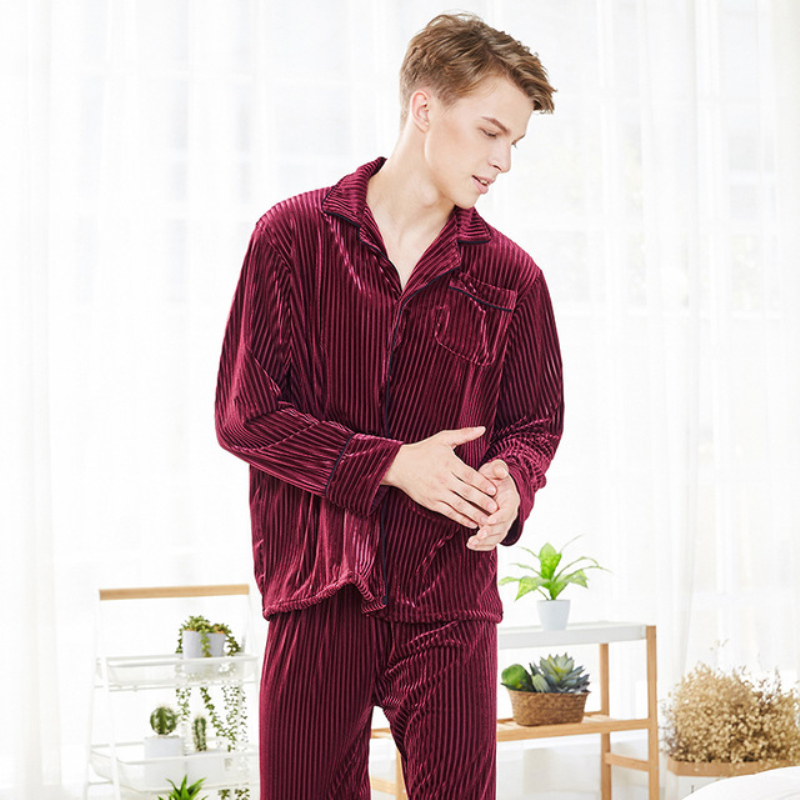 Herren-pyjama-garnituren Bzel Neue Männer Pyjama Baumwolle Grau Oansatz Nachtwäsche Männer Lange Sleeve Home Kleidung Plus Größe L-3xl Pijama Männlichen Unterwäsche Set Pyjamas