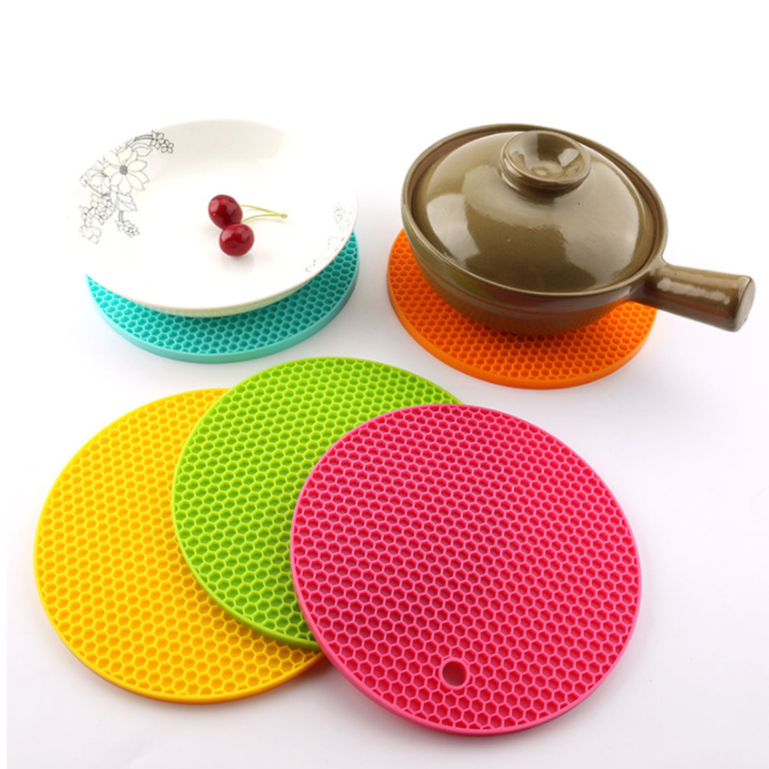 Hot Sale 18Cm Round Silicone Non-Slip Heat Resistant Mat Coaster Cushion Placemat Pot Holder Kitchen Accessories