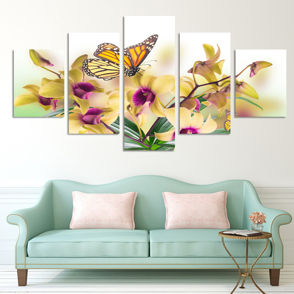 No frame paintings fashion design 5 panel modern wall painting flowers home art picture paint on canvas prints orchid in painting calligraphy from home
