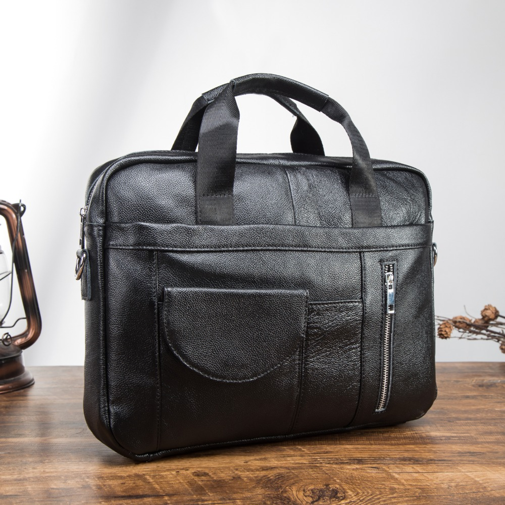 Men Genuine Leather Antique Fashion Business Briefcase 15.6