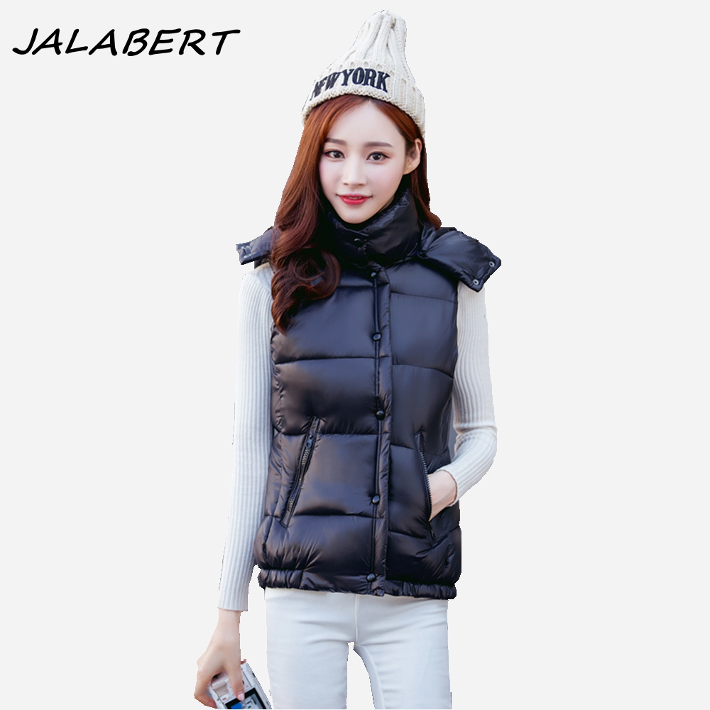 2017 autumn winter slim thicker warm new Slim removable hat jacket for women female hooded Glossy solid cotton parkas black vest