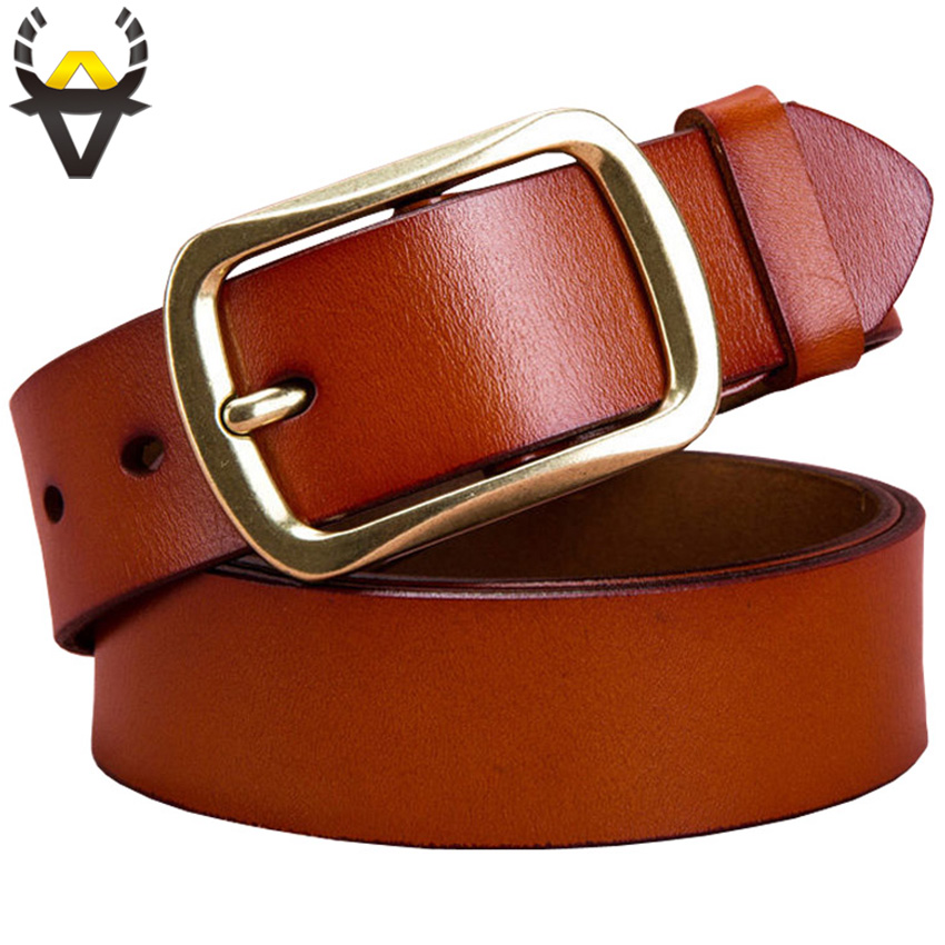 Fashion Genuine leather   belts   for men Alloy copper pin buckle strap for jeans High quality second layer cow skin   belt   man Brown